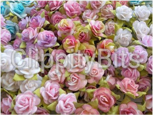15mm premium pastel two tone coloured paper mulberry roses on wire