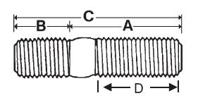 10 X 30 X 10 X 12 X 42mm Metric Stud Din 939