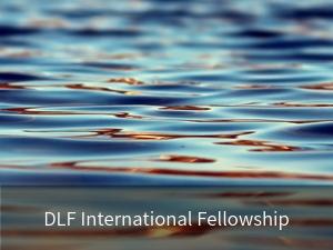 Modal box: DLF International Fellowship. Background image: ocean water.