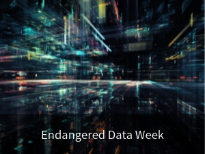 Modal box: Endangered Data Week. Background image: lights on dark background evoking activity related to data.