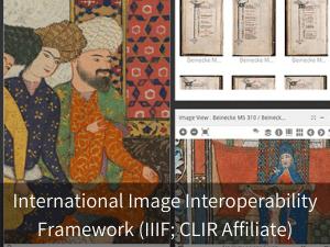 Modal box: International Image Interoperability Framework (IIIF; CLIR Affiliate). Background image: snapshot from Mirador viewer.