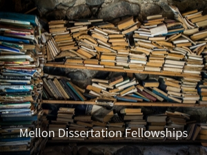 Modal box: Mellon Dissertation Fellowships. Background image: old books in disorganized archive.
