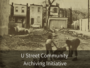 Modal box: U Street Community Archiving Initiative. Background image: neighborhood children playing by vacant lot on U street.