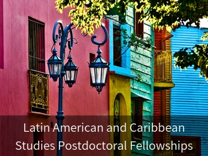 Modal box: Latin American and Caribbean Postdoctoral Fellowships. Background image: colorful buildings in Bogota, Colombia.