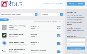 Screenshot of the CLIR and DLF Job Board homepage