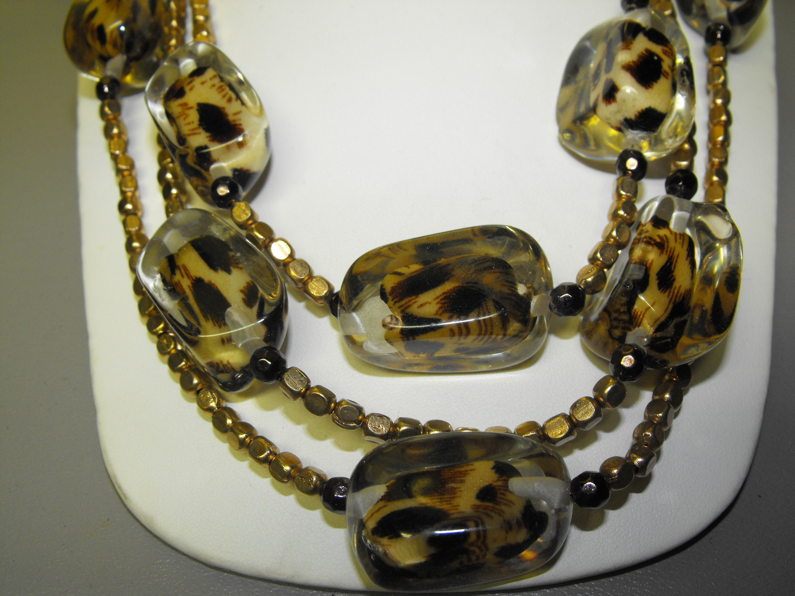 Chicos Fashion Necklace AcrylicLeopard Design  Clives Unique Jewelry