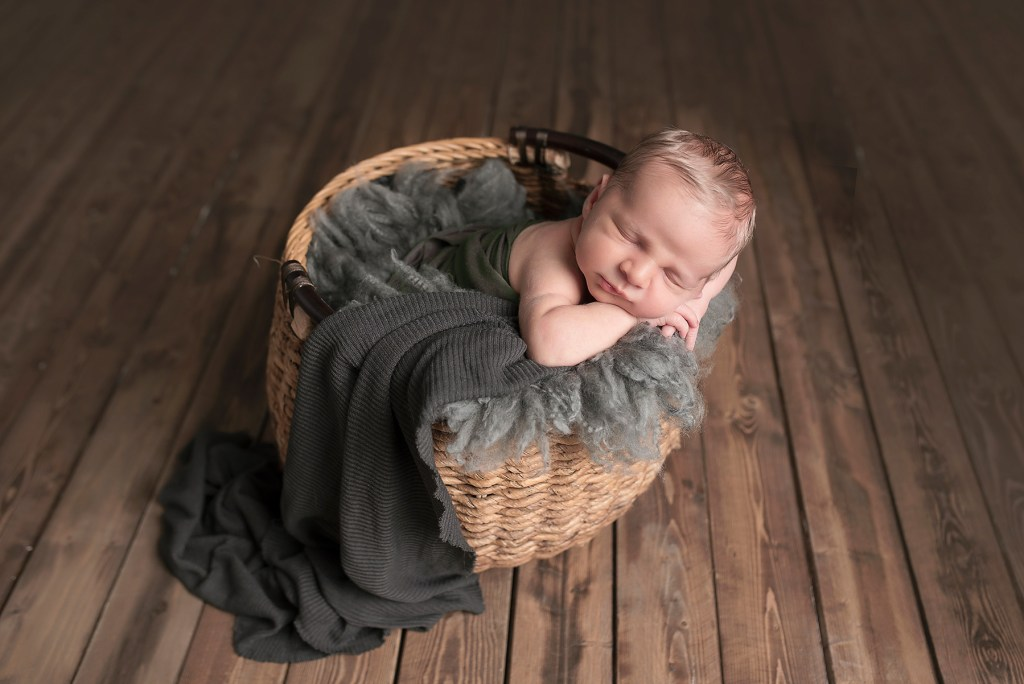 baby boy in basket Frisco TX Newborn Photographer Maternity Photographer Frisco CLJ Photography