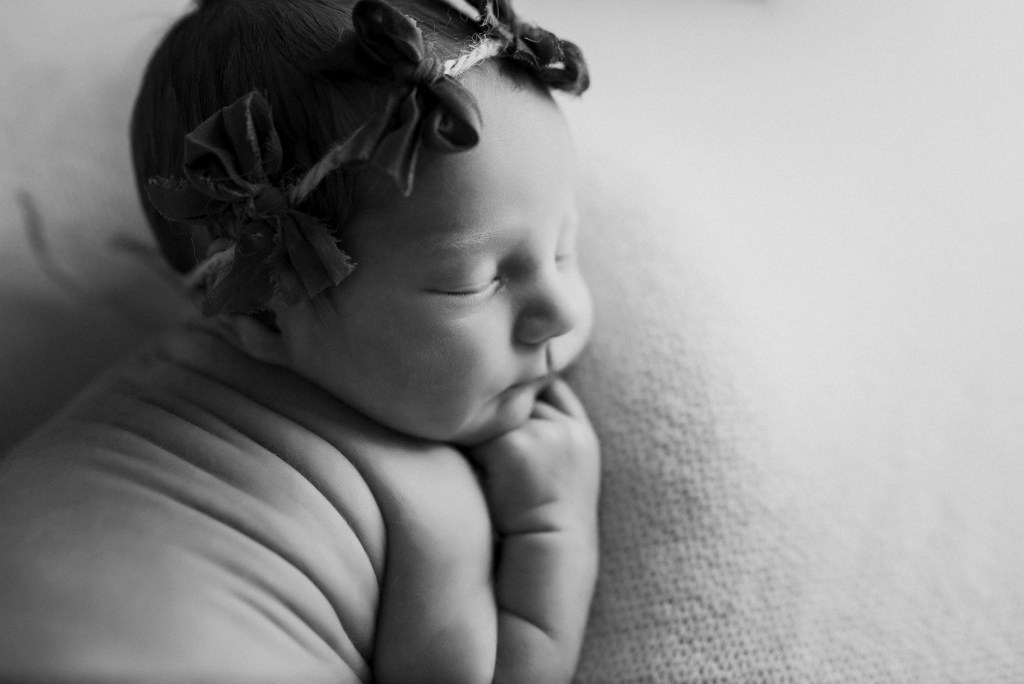 Newborn Photo Shoot Baby Girl Dallas CLJ Photography Simple black and white Infant Photo