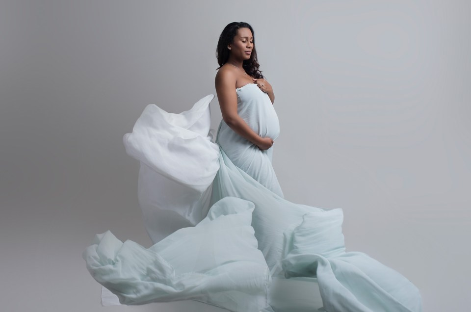 blue maternity gowns in Dallas Pregnancy Photographer CLJ Photography