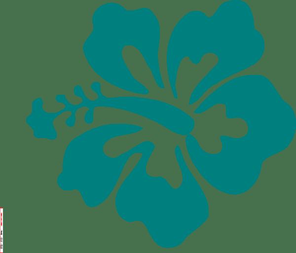 teal hibiscus clip art