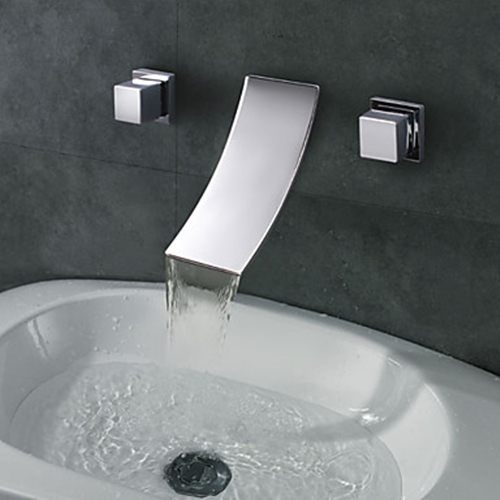 Widespread Designer Curve Spout Waterfall Bathroom Sink Faucetfaucetsuperdealcom  Free