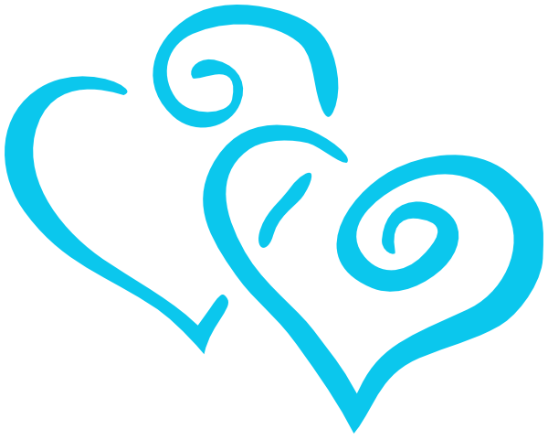 intertwined teal hearts clip art