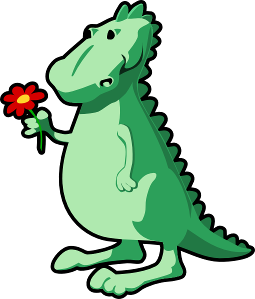dragon with flower clip art