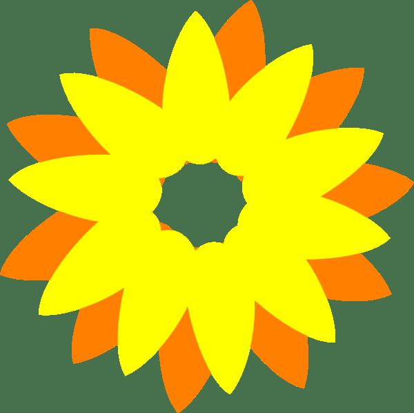 flower sun orange clip art
