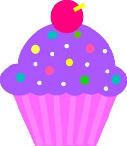 cupcake purple and pink clip art