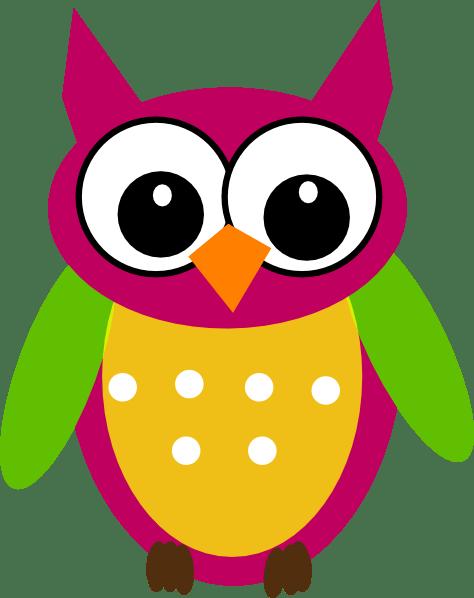 purple green owl clip art