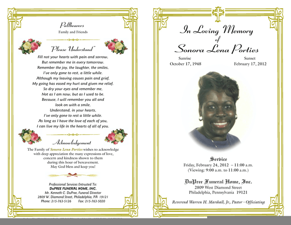 obituary template microsoft word