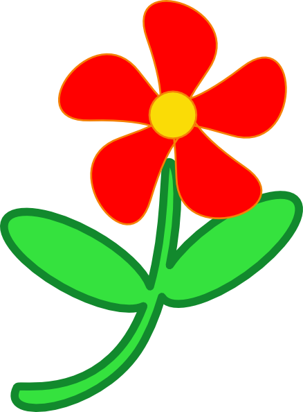 red flower cute clip art