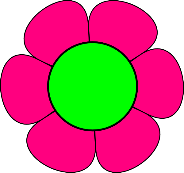large green and pink flower clip