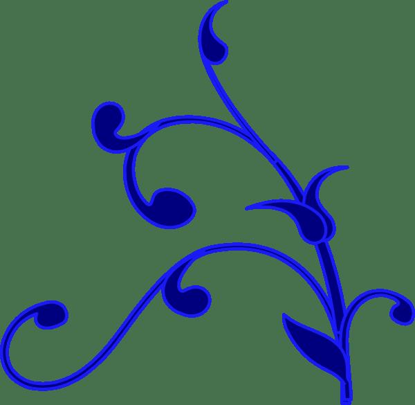 blue outline flower vine clip art