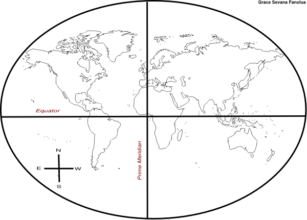 World Map Sketch With Incorrect Compass Rose Clip Art at