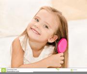 girl brushing hair clipart free