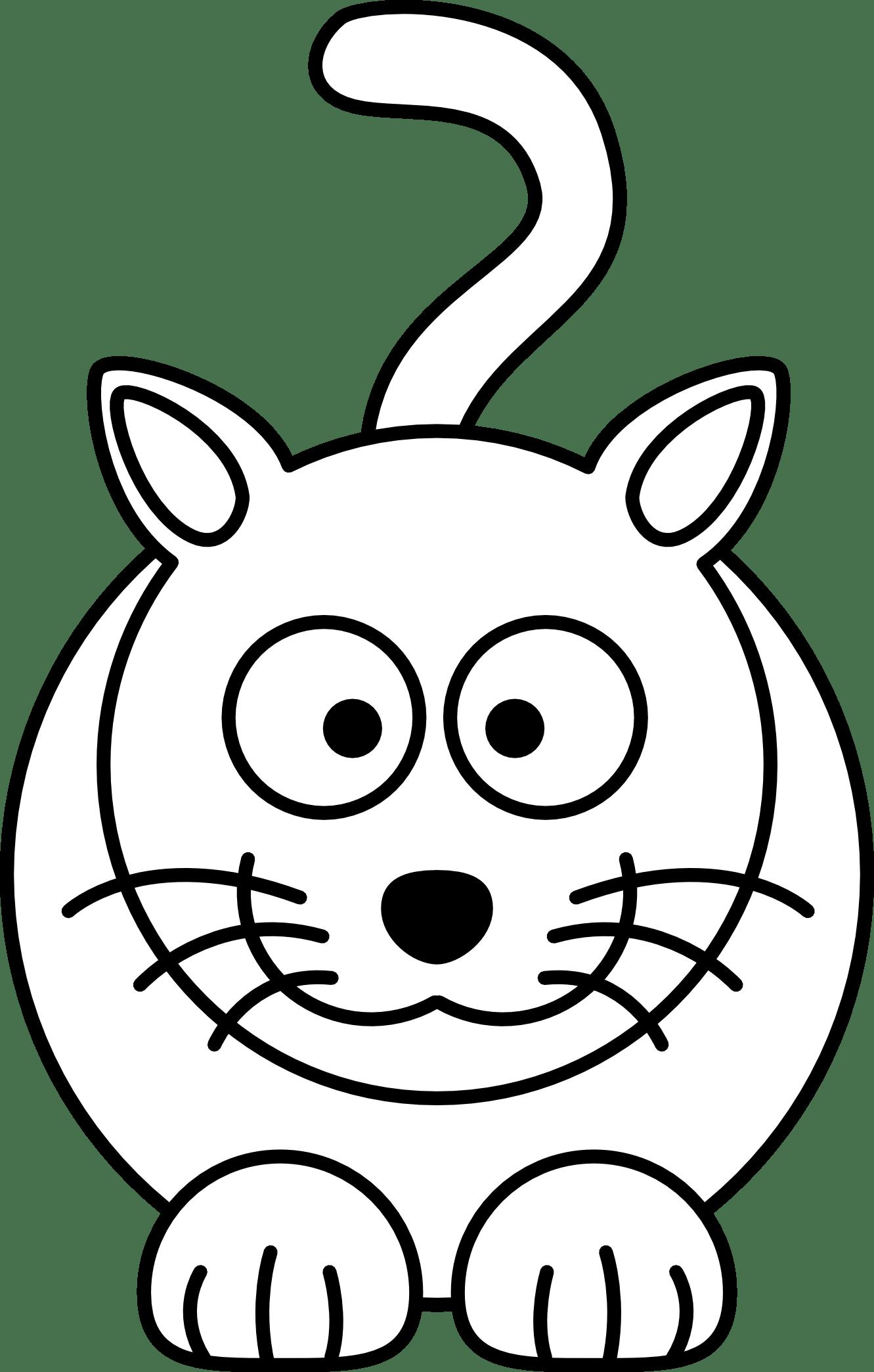 Lemmling Cartoon Cat Black White Line Art Coloring Book