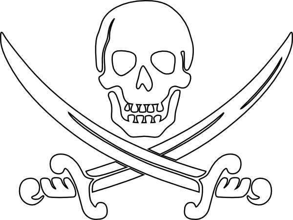 Pirate Skull And Sword Coloring Page Coloring Pages