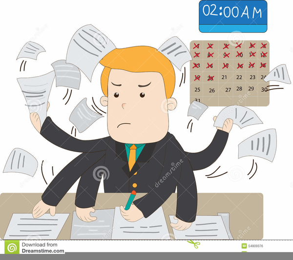 busy office worker clipart free