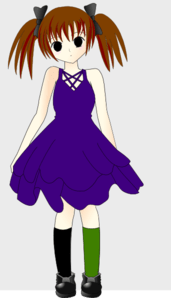Emo Girl In Blue Dress Clip Art at Clkercom  vector clip