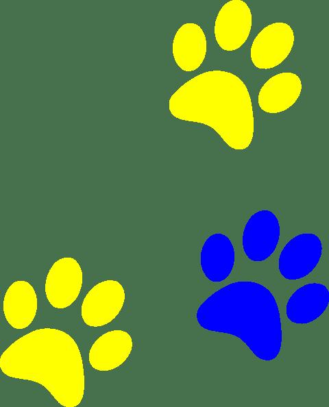 blue gold paw print clip art