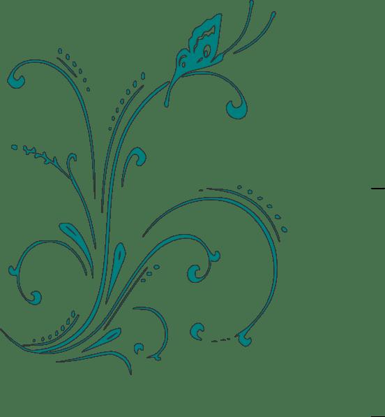 teal butterfly scroll clip art