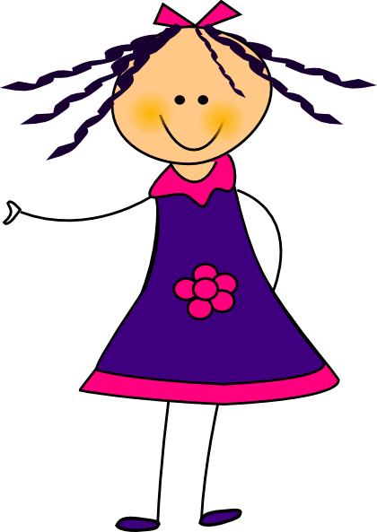 purple dress girl clip art