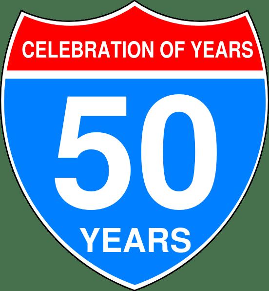 interstate 50th anniversary sign