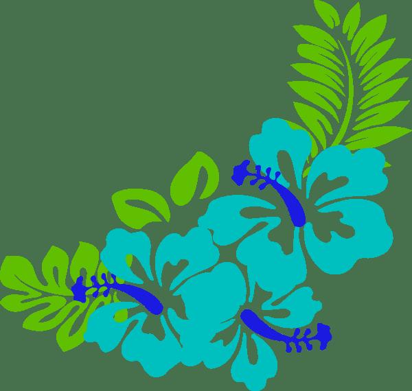 blue green tropical flowers clip