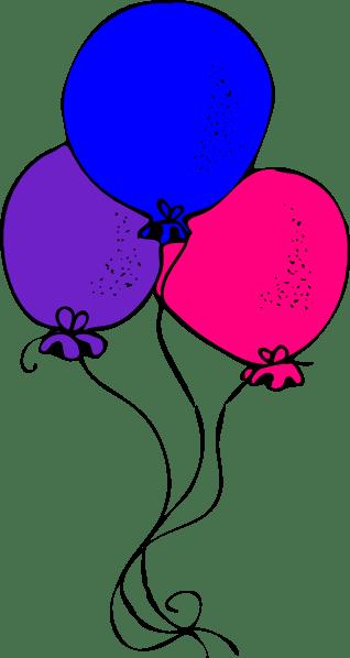 pink blue purple balloons clip