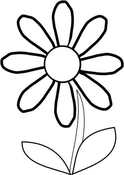 white daisy with stem clip art