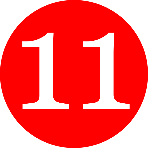 red rounded with number 11 clip