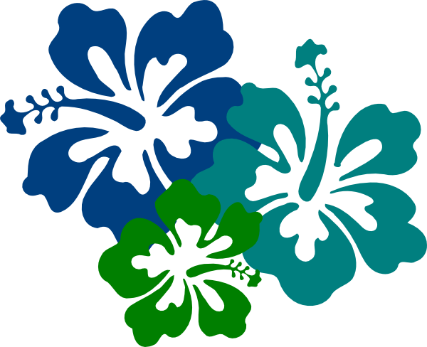 hibiscus teal & green clip art