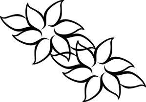 six point flower with leaves clip