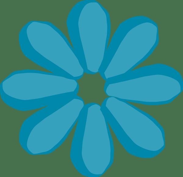 teal flower clip art