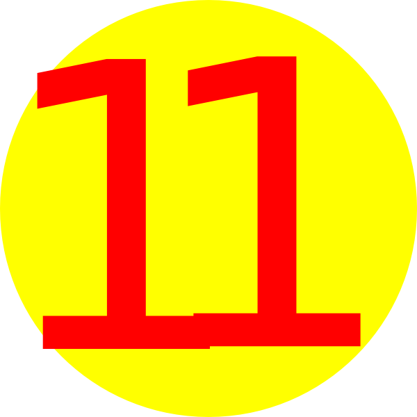 yellow with number 11 clip