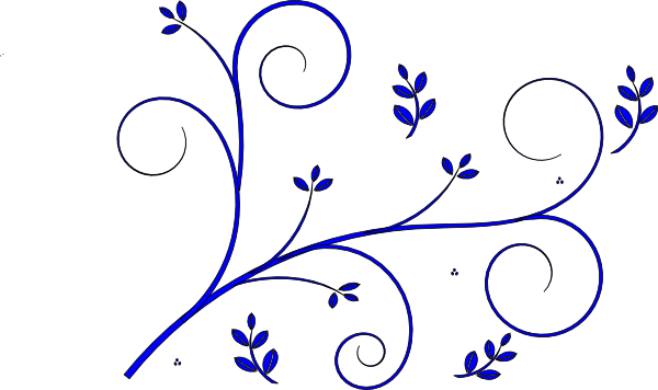 floral design blue clip art