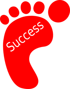 red footprint success clip art