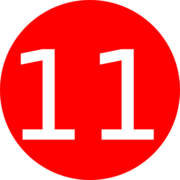 number 11 red background clip art