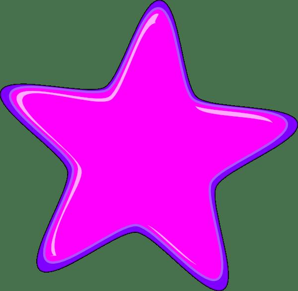pink star 3 border clip art