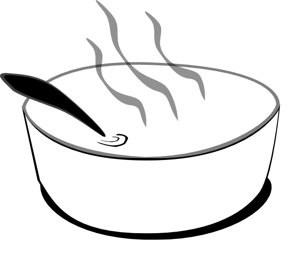 Flying Soup Bowl In Gray Scale Clip Art at Clker.com