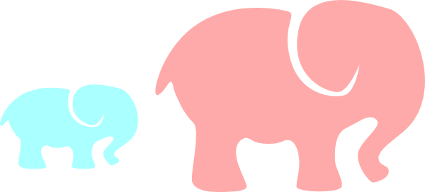 Download Grey Elephant Mom & Baby/pink And Blue 2 Clip Art at Clker ...