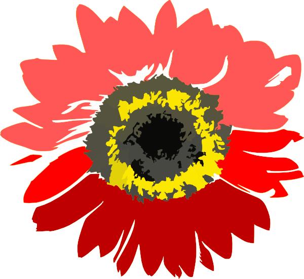 red sun flower clip art