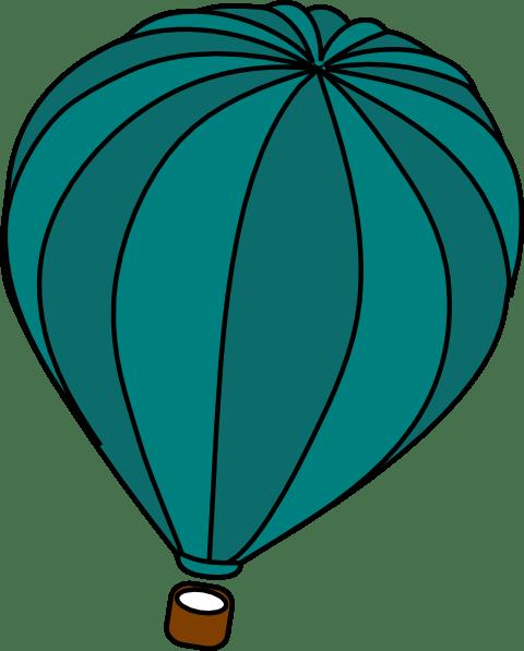 hot air balloon teal blue clip